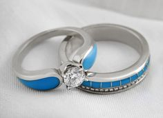 Unique Diamond and Turquoise Wedding Rings in White Gold | The Alchemy Bench #bridaltransformed