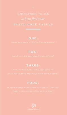 4 questions to ask to help find your brand's values - the list