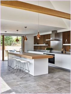 new kitchen trends which ones are your favorite 2 - censiblehome Open Plan Kitchen Living Room, Kitchen Room Design, Kitchen Cabinet Design, Modern Kitchen Design, Kitchen Layout, Home Decor Kitchen, Interior Design Kitchen, New Kitchen, Home Kitchens
