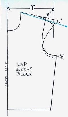 Artsybuildinglady: How To Make a Cap Sleeve T-Shirt Pattern by elisa How To Easily Alter A Pattern To Make A Cap Sleeve T-Shirt Morning Everyone! I thought I would share a simple pattern tutorial with . Áo tay ve liền Let's Sew For Fun (**valisimo Fash Blouse Patterns, Clothing Patterns, Sewing Patterns, Techniques Couture, Sewing Techniques, Pattern Cutting, Pattern Making, Sewing Hacks, Sewing Tutorials