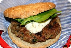 The Works Burger. 1 lb lean ground beef  2 pieces bacon, cooked crisp and crumbled  1/3 c chopped fresh spinach  1/4 c chopped mushrooms  1/4 c chopped black olives  2 oz crumbles feta  2 cloves garlic  1/4 c finely chopped onion  1 T ketchup  1 t shire  fresh spinach oregano garlic mayo. Combine beef, bacon, mushrooms, olives, feta, garlic, onion, ketchup,shire, s Oregano Garlic Mayo:  1/2 c mayo 1 t oregano  1 clove garlic. lots of big delicious flavor and were definitely a hit!