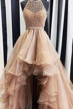 High-Low Long Prom Dresses, Short Front Long Back Halter Beading Open Back Prom Dresses #longpromdresses #promdresses #2018eveningdresses #homecomingdresses #dresses2018