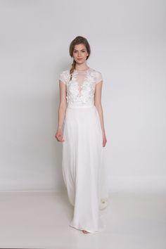 White $$$ - $1501 to $3000 Beading Cap Sleeve Chiffon Floor Illusion Ivy & Aster Natural Sheath Silk V-neck Wedding Dresses Photos & Pictures - WeddingWire.com