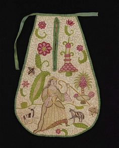 English, early 18th century, quilted on white linen ground with green silk