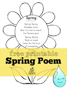 A great literacy addition for fluency practice! Free spring poem for preschool, kindergarten and first grade! Also add watercolor for a fun art activity. April Preschool, Preschool Songs, Spring Songs For Preschool, Spring Crafts For Preschoolers, Spring Activities, Book Activities, Classroom Activities, Kindergarten Poems, Pomes