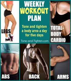 Weekly Workout Plan from Tone-and-Tighten.com - hit every body area this week with these 5 FREE at-home workouts!