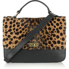 J.Crew Edie leopard-print calf hair bag ($220) ❤ liked on Polyvore