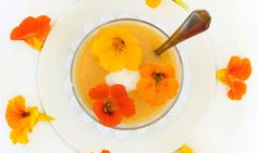 Gazpacho with nasturtium flowers … flowers complement dishes in the same way herbs do