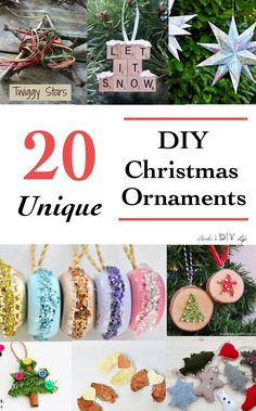 Really unique DIY Christmas Ornaments Ideas! They are all so cute! Would be so much fun to make!
