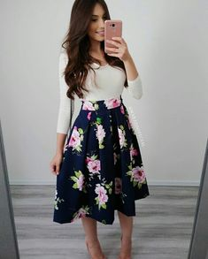 Fashion women, dressy outfits, floral skirt outfits, spring outfits, cute c Floral Skirt Outfits, Dressy Outfits, Mode Outfits, Spring Outfits, Teen Outfits, Chic Outfits, Jw Fashion, Modest Fashion, Fashion Dresses