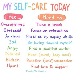 Children need to know how to react to these feelings that they have never had before and this chart can help guide them. health awareness Blessing Manifesting - Making self care and self love part of the everyday. Mental Health Matters, Mental Health Awareness, Teen Mental Health, Mental Health Journal, Mental Health Facts, Mental Health Recovery, Positive Mental Health, Mental Health Resources, Mental Health Problems