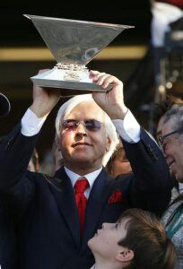 Bob Baffert triple crown trophy