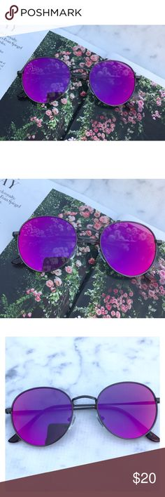 Purple On Black Round Sunglasses On trend! Purple on black Round Mirrored Sunglasses. Purple  Mirrored Sunglasses. Retro. Sunglasses. Wire sunglasses. Trending sunglasses. Festival sunglasses. UV protection. Top quality! Brand new! Bundle and save! Accessories Glasses