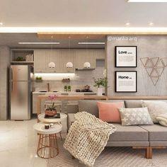 Sofá cinza: 85 ideias de como usar esse móvel versátil na decoração Apartment Interior, Living Room Interior, Home Living Room, Home Interior Design, Living Room Designs, Living Room Decor, Apartment Living, Apartment Ideas, Cuisines Design