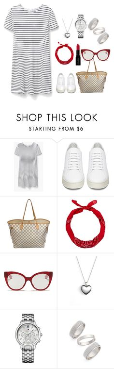 """Untitled #347"" by sanela-o ❤ liked on Polyvore featuring moda, MANGO, Off-White, Louis Vuitton, Miu Miu, Pandora, Tommy Hilfiger, Topshop y Smashbox"