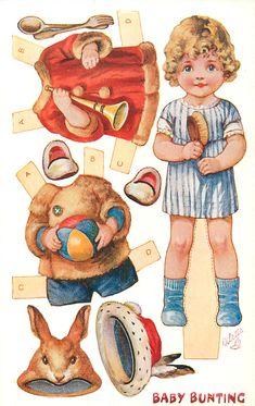 Baby Bunting, Paper Toys, Paper Crafts, Paper Puppets, Foam Crafts, Diy Vintage, Paper Dolls Printable, Vintage Paper Dolls, Nursery Rhymes