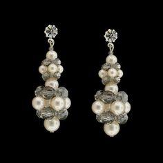 Swarovski Crystal & Pearl Cluster Earrings   Giavan