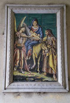 Sicilia Caltagirone, Keramikbild der Flucht nach Ägypten (Flight into Egypt, ceramic picture)   #TuscanyAgriturismoGiratola
