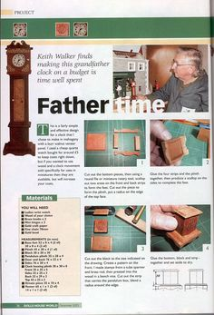 Dolls House World Magazine, Make A Grand Father Clock