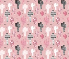 Soft pastel geometric cactus garden with triangles and arrows gender neutral pink black and white - Cactus wallpaper and fabric available via Spoonflower designed by Little Smilemakers Studio