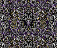 exotic paisley damask, halloween colors fabric by beesocks on Spoonflower - custom fabric