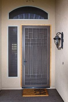 Modern Front Door With Storm Door.Traditional Screen Storm Door Old Fashion Model Www . Fiberglass Entry Door Gallery The Front Door Company. Red Front Door With White Door Frame And Windows On Brick . Home and Family House Design, Modern Front Door, Security Screen Door, Iron Door Design, Iron Security Doors, Iron Doors, Window Grill Design, Door Gate Design, Front Door