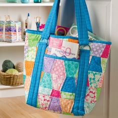 Scrap Busting Sewing! The Quilted Tumbler Tote bag sewing pattern makes a roomy tote and is a great quilting project to stitch up some of those scraps!