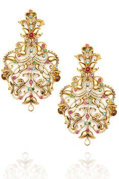 ROHITA AND DEEPA - Gold finish filigree earrings