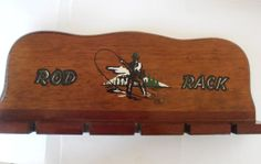 Vintage Fly Rod Rack Wooden Fishing Pole Holder Storage Fly Fishing