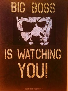 Big Boss is watching you! Orwell would be proud!