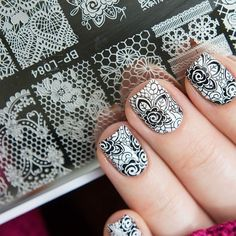 👏👏Nice stamping nails designed by Featuring stamping plate BP-L. Lace Nail Design, Lace Nail Art, Silver Nail Art, Lace Nails, Cool Nail Art, Nails Design, Nail Stamping Designs, Nail Stamping Plates, Best Nail Art Designs