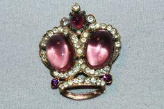 Vintage / Large / Crown / Brooch / Amethyst / by AmericanHomestead