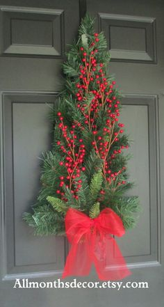 SALE Red Holly Berry Christmas Tree Pine Wreath Swag, Fall Autumn Christmas Winter, Holiday Wreath, Christmas Decorations, Pine Wreath