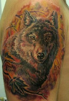 Wolf On The Background Of Autumn Leaves Tattoo  Tattoos