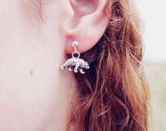 New to MoonTideJewellery on Etsy: Little Grizzly Bear Earrings - Bohemian Dainty Studs in Antique Silver - Sterling Silver Earrings - Brown Bear Earrings - Animal Earrings (9.99 GBP)