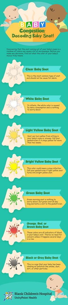 What's in my baby's nose? Find out what baby snot colors you should look out for in a congested baby.