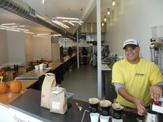 Clover chef Rolando at Clover HUB, corner of Cambridge and Elm, outside Inman Square