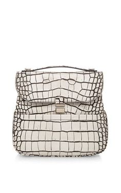 Bi-Color Embossed Croc Kent Bag In Optic White c958b2cab328f