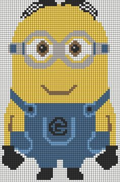 Another one to convert to a cross stitch pattern. Large Minion Despicable Me perler bead pattern Beaded Cross Stitch, Cross Stitch Charts, Cross Stitch Embroidery, Cross Stitch Patterns, Graph Crochet, Minion Crochet, Crochet Pattern, Minion Pattern, Stitch Cartoon