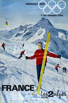 """Grenoble 1968 - Xè Jeux Olympiques d'Hiver - Les 2 Alpes Isère France. Affiche officielle originale des Jeux Olympiques d'Hiver de Grenoble pour la station remplaçante des Deux Alpes - Un moniteur de ski (c'est Raymond Giraud) """"pull rouge"""" sur la piste du Diable avec la Muzelle en décor."""