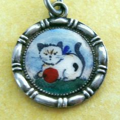 Vintage Art Deco German Silver Enamel Kitty Cat Charm with Red Ball   eBay