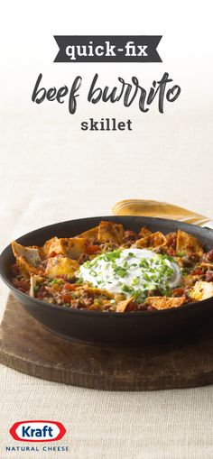 Quick-Fix Beef Burrito Skillet – Busy weekday? This recipe can help! Enjoy the savory deliciousness of a beef burrito with the simplicity of a skillet dish in 30 minutes or less thanks to this easy, cheesy recipe.