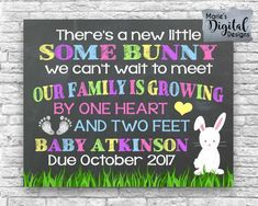Are you looking for a great way to share with your friends and family the exciting news of expecting a baby? This cute Easter themed chalkboard printable not only makes a great photo prop and / or card but its also perfect to upload onto social media sites to make your big announcement!  ♥♥♥ You can find this same design personalized with just the due date (no last name) here: https://www.etsy.com/ca/listing/512435399 ♥♥♥  PLEASE NOTE: This is a printable digita...