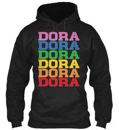 Dora Rainbow Colors Black Sweatshirt Front