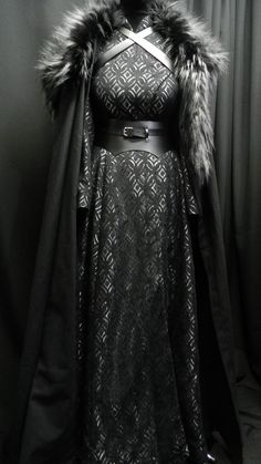 Game Of Thrones Inspired by Sansa Stark black silver dress, leather belt, cloak and shoulder's fur custom made to your size!