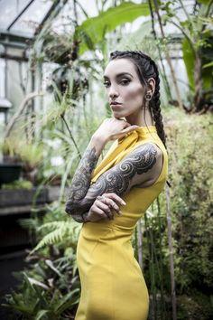 fashion photography model garden botanical inked girl glass house greenhouse nature tropical shoot