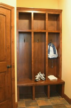 open lockers for home - I like this, but wider cubbies so that a boot try would fit at the bottom, and so that more than one coat could be hung