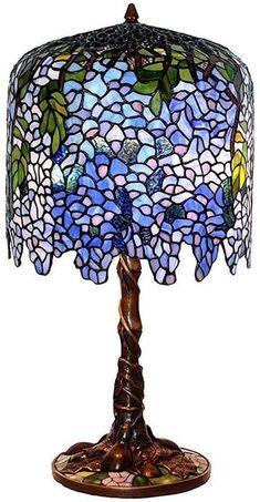 Luce notturna retrò wisteria vetro colorato lampada da tavolo tiffany stile scrivania leggera pastorale luci di lettura floreale per soggiorno camera da letto camera da letto café illuminazione infiss: Amazon.it: Casa e cucina
