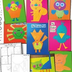 This packet includes printable pages for Autumn/Fall Shape Animal Crafts!This packet includes templates and instructions for making 8 fun animal paper crafts.These crafts will helps students learn and work with combinations of shapes. Shape Collage, Shape Art, Shapes For Kids, Math For Kids, Classroom Activities, Shape Activities, Preschool Education, Learning Activities, Classroom Ideas