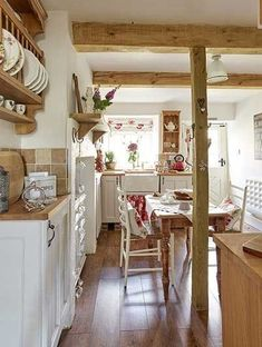 stone cottage country kitchen with wooden beams, pine plate rack, floor Cottage Kitchen Cabinets, Cottage Kitchens, Home Kitchens, Country Kitchens, French Kitchens, Farmhouse Kitchens, Cottage Homes, Country Style Homes, Cottage Style